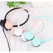 3.5mm Cute Cat Colored Stereo Wired Headphones Headset Earphones for Smart Phone mp3 Kids Student Birthday Gifts Retail box