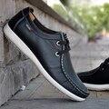 2017 Zapatos de Los Hombres Planos de La Manera Hombres de Negocios de Cuero Genuino Zapatos Mocasines Mocasines Otoño