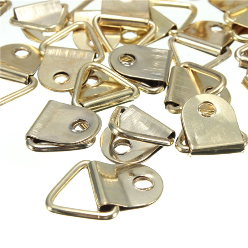 Golden Picture Hangers Brass Triangle Photo Picture Frame Wall Mount Hanger Hook Ring Iron 10/40/50/100 Pcs Wholesale