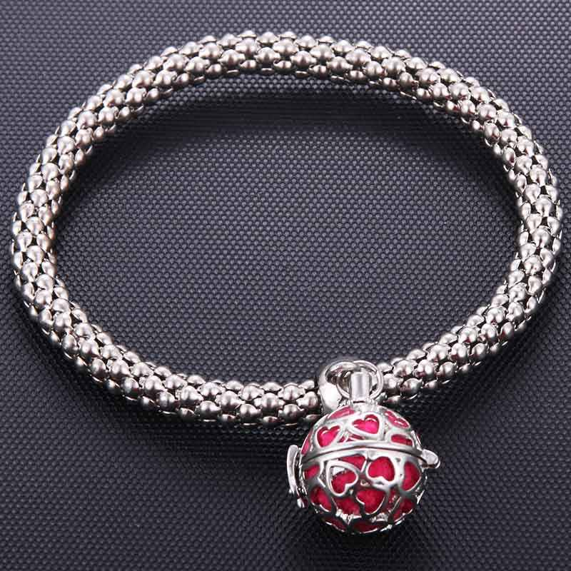 Heart Cage Silver Creative Perfume Essential Oil Diffusion Corn Chain Bracelet Elastic Exquisite Aroma Bracelet Fashion Jewelry