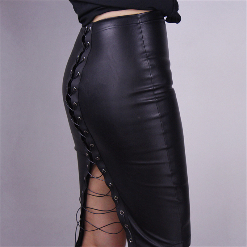 High Waist Leather Skirt Back Split Bandage Pencil Tight Half Skirt Sexy Black Slim Washable Leather