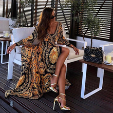 Deep V Neck Printed Dress For Woman Summer Beach Sexy Boho Vestidos Casuais Long Sleeve Casual  60j014