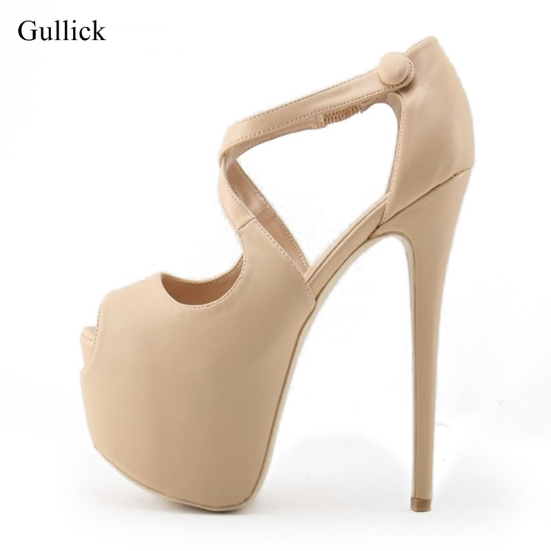 Stylish Nude Black Ultra High Heel Platform Pumps For Women Peep Toe Banquet Shoes Cross Strap 16cm Stiletto Heel Studded Pumps fashion ultra high heel dress shoes women stiletto heel platform round toe pure black can match any situation