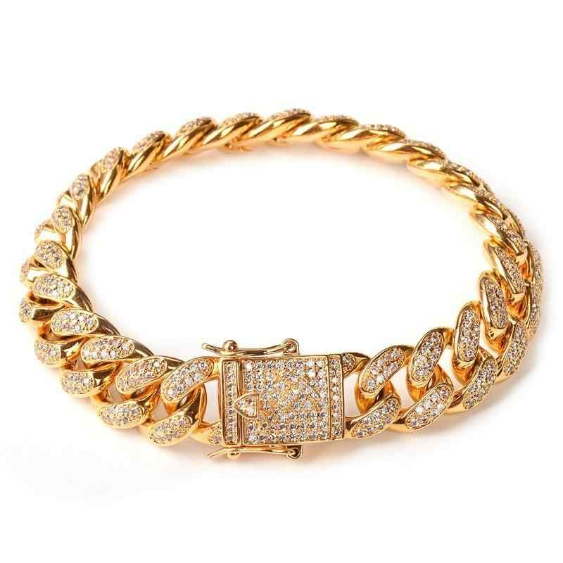 High Quality Hip Hop Men Simulated Diamonds Bracelet Cuban Links Chains Never Fade Gold Color Luxury Alloy Bracelet