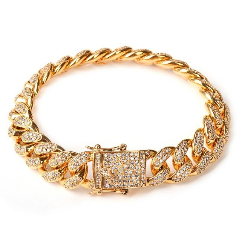 Links-Chains Alloy-Bracelet Simulated Cuban Hip-Hop Never Gold-Color High-Quality Luxury title=