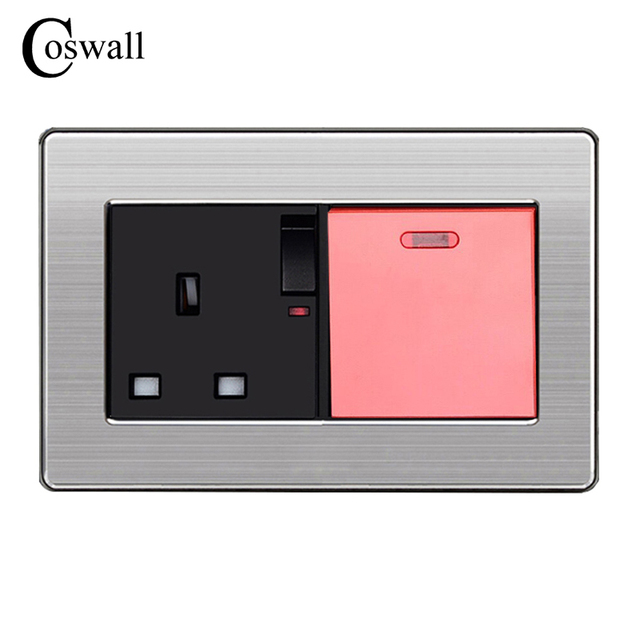 COSWALL 146 UK Standard Switched Socket with Neon + 45A Water Heater ...