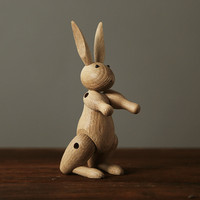 Northern Europe Wood carving miss Rabbit Figurines Joints puppets Animal art sitting room Home Decoration Crafts