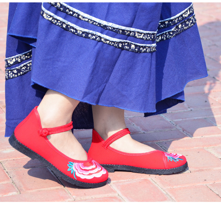 Fashion 2017 Old Peking Cloth Shoes, Chinese Style Totem Flats Mary Janes Embroidery Casual Shoes, Red+Black Women Shoes S189 (42)