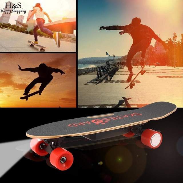 Electric Skateboard w/ Bluetooth Speaker & Front Light, w/ Remote Controller