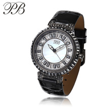 Luxury Brand PB Butterfly Princess Women Watches Leather Band Ladies Watch with Crystal Diamond Popular Quartz Watch HL540