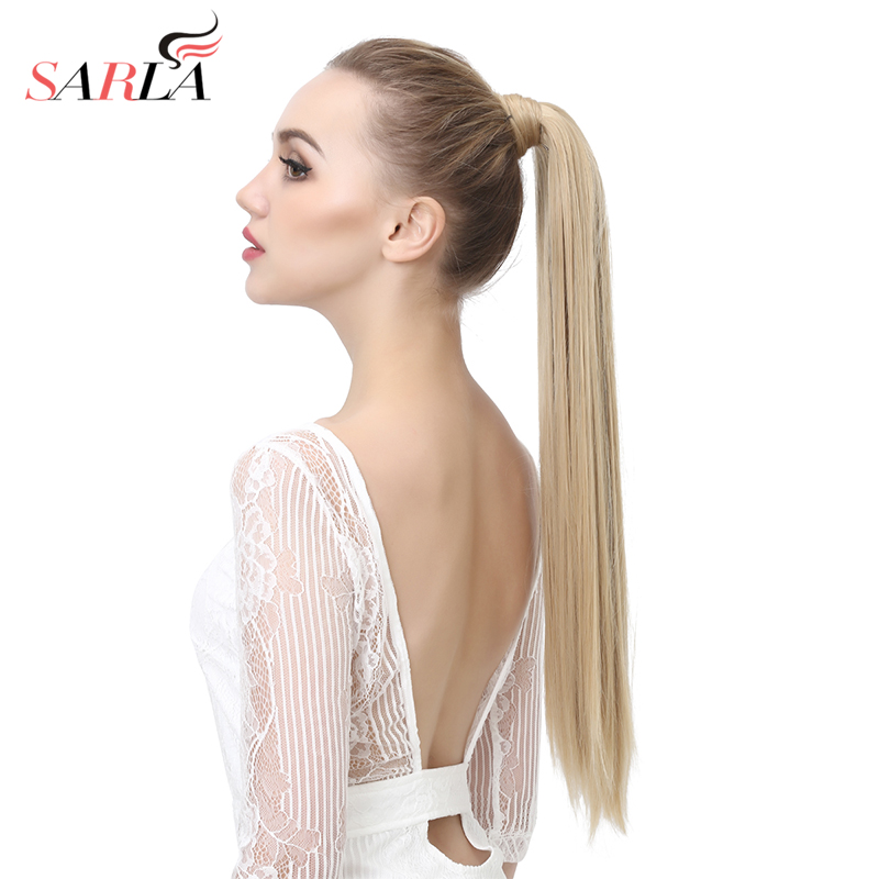 SARLA 24 28 10Pcs Straight Synthetic Clip In Wrap Around Ponytail Extension Resistant High Temperature Hairpieces