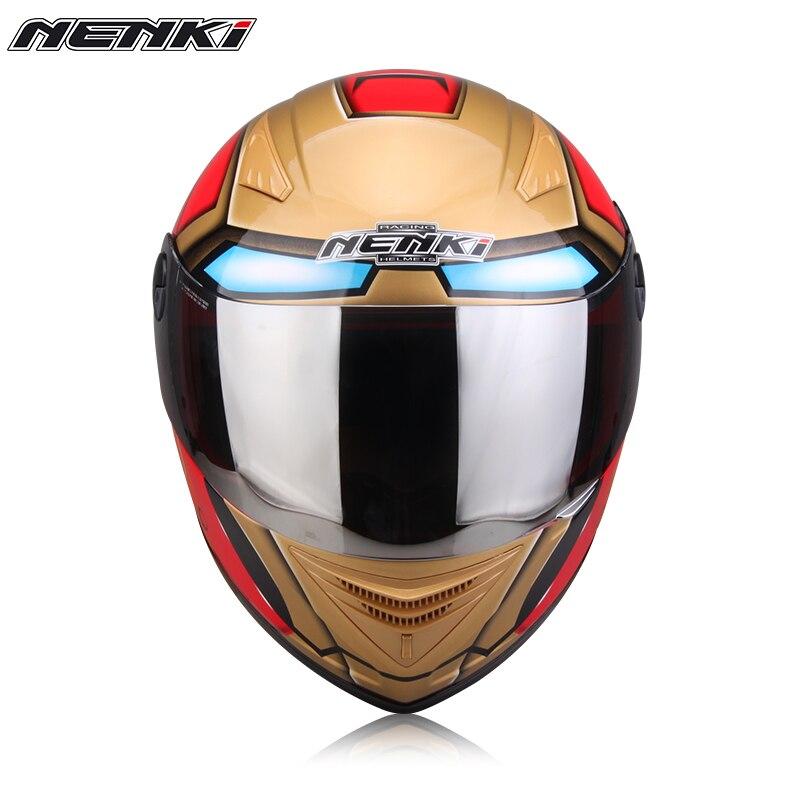 iron man spider man motorcycle helmet men and women summer season double lens anti fog sun