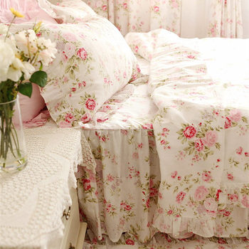 Pastoral Rose Print Bedding Set Ruffle Duvet Cover Princess Quilt Cover Wrinkle Bedspread Bed Sheet Skirt Bedroom Bedding Gift