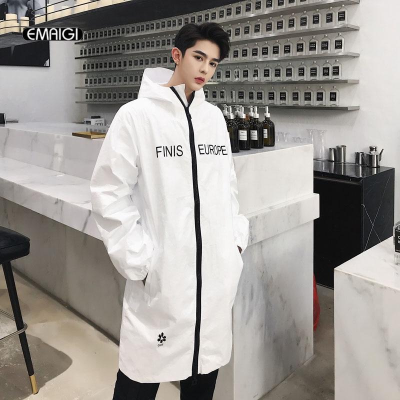 Men Streetwear Hip Hop Waterproof Windbreaker Hooded   Trench   Jacket Male Women Fashion Casual Long Coat Couple Clothes