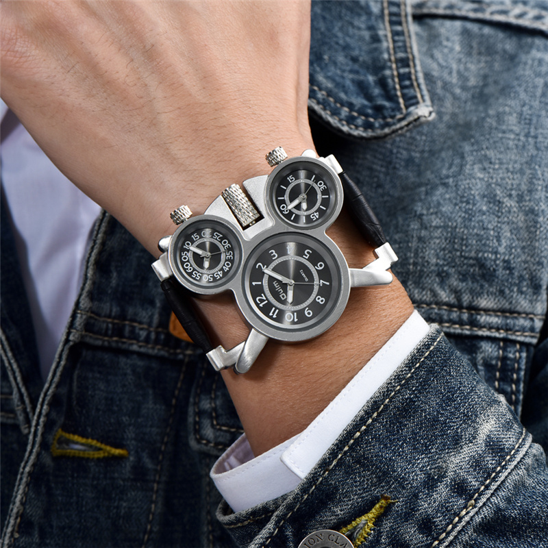 OULM 1167 Mens Vintage Steam Punk Leather Band Watches 3 Time Zone Japan MOVT Casual Quartz Watch