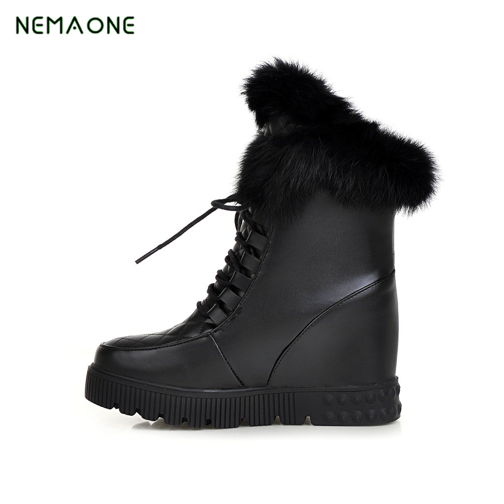 NEMAONE Size 34-43 Women Wedges High Heels Mid Calf Boots With Thick Fur Women Height Increasing Lace Up Snow Boots Footwear double buckle cross straps mid calf boots
