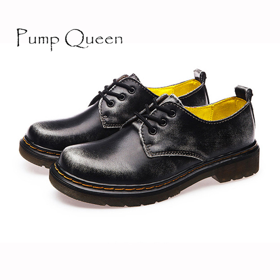 British Style Genuine Leather Oxfords For Women Martin Ankle Shoes Female Spring Autumn Casual Lace-Up Flats Shoes 34-44 2017 spring autumn new genuine leather lace up oxford shoes female thick bottom flats shoes europe style martin shoe obuv