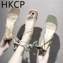 HKCP Fashion 2019 summer new square-toe open-toe sandals with cross-strap gladiator slipper for women retro C212
