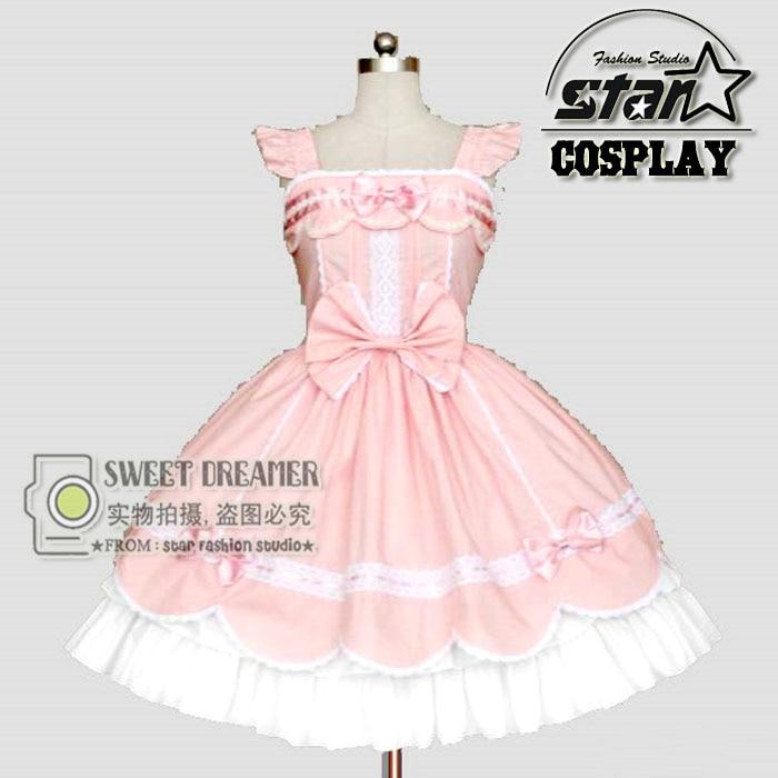 Amor vivo rosado niñas vestido Cosplay japonés Cute Lolita Maid ...