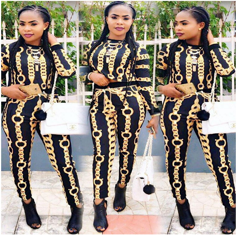 badbf97d76c 2018 Spring New Arrival Gold Chain Print Two Piece Set Women Sexy Overalls  Crop Top And Pants Suit Jumpsuit Long Sleeve Crewneck