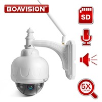BOAVISION Wireless IP Speed Dome Camera Wifi HD 1080P 2MP PTZ Outdoor Security CCTV 2.7 13.5mm Auto Focus 5X Zoom SD Card ONVIF