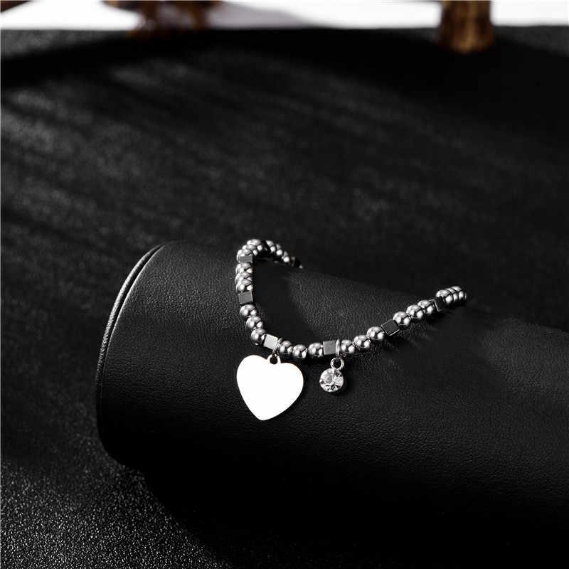 Vòng tay trái tim bằng thép không gỉ màu bạc dễ thương cho phụ nữ Vòng tay pha lê đính cườm Vòng tay mẹ tặng quà 2019 Trang sức thời trang Thanh lịch quyến rũ Phụ kiện căng