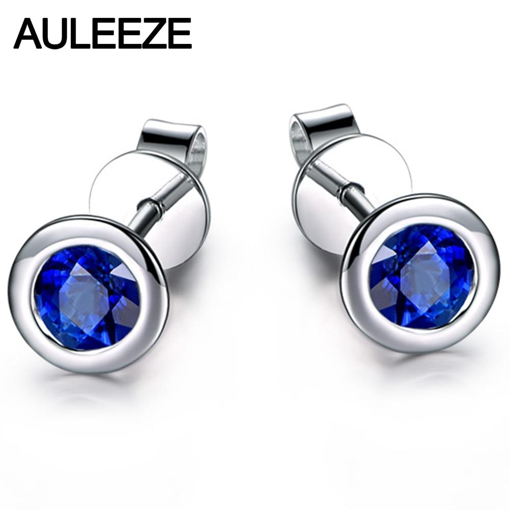 Bezel Setting 0.8cttw Sapphire Earring 14K 585 White Gold Simplistic Elegance Natural Sapphire Stud Earrings Valentine GiftS цена 2017