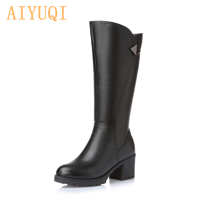 2019 winter new genuine leather women boots,thick with Gaotong women's motorcycle boots, Large size 35-43 #warm women snow boots