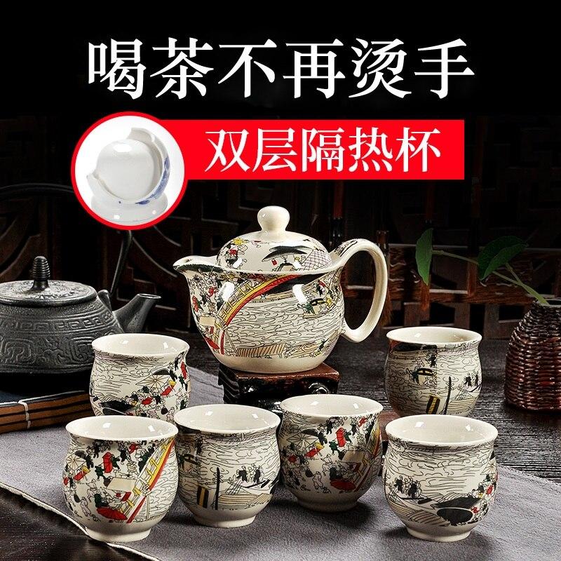 Чай комплект специальные анти гладильная двойной чашки кунг-фу Чай набор Китайский Синий и белый фарфор Чай горшок Чай чашки керамика
