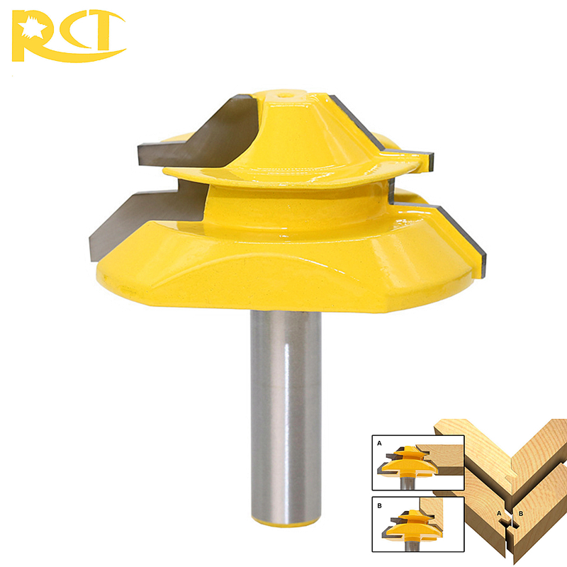 RCT 8mm Shank Lock Miter Router Bit Milling Cutters 45 Degree Carbide Wood Cutter 3/4 Stock For Carpenter Woodworking Tools 16pcs 14 25mm carbide milling cutter router bit buddha ball woodworking tools wooden beads ball blade drills bit molding tool