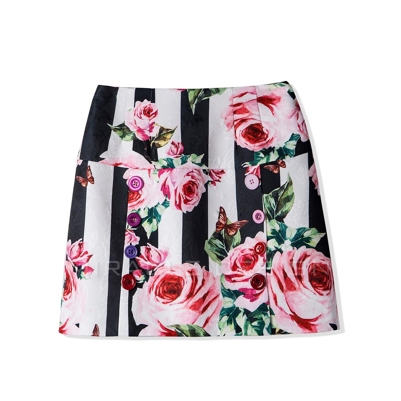 New European romantic roses printed 2018 Dark jacquard Custom color double breasted Tall waist A pendulum skirts