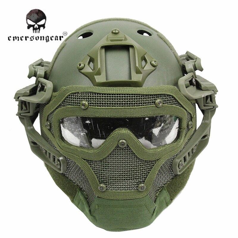 Prix pour Emerson Système G4 Ensemble Tactique Airsoft Paintball PJ Casque avec Globale Protéger Verre Visage Masque Militaire Casque Équipement ^