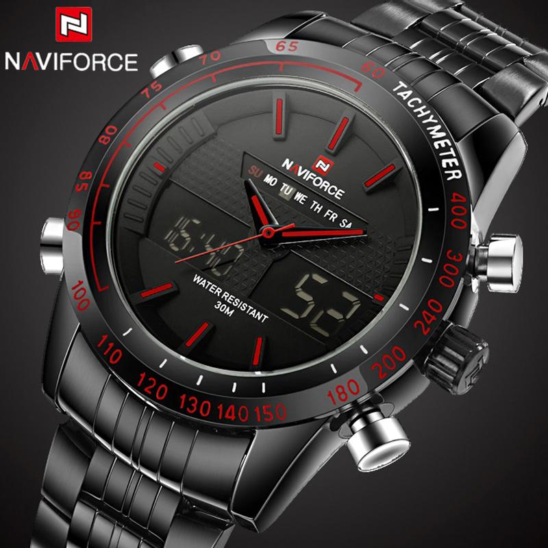 Prix pour Mens Montres NAVIFORCE Marque De Luxe En Acier Quartz Horloge Numérique LED Montre Militaire de L'armée Sport Montre Homme relogio masculino