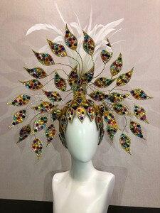 Image 2 - ברזיל ריו ספרדית קובה סנטיאגו הוואנה ונציה Dionysia קרנבל לצוף מסכת שמלת masque כדור תלבושות סמבה נוצות פלומת Headd