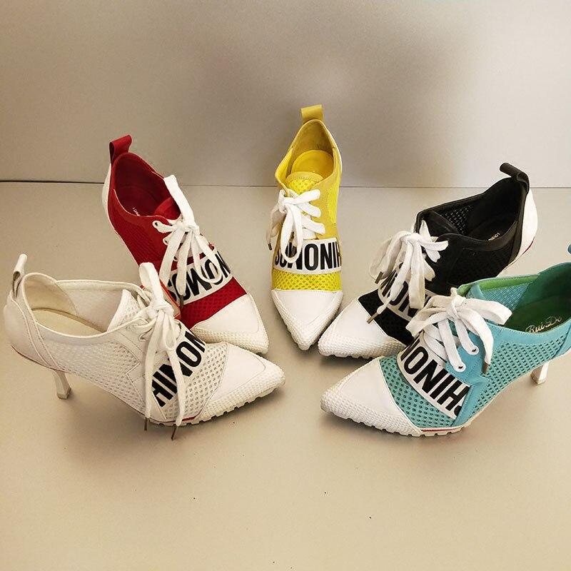 2019 nouveauté couleur bonbon pompes chaussures femmes maille Surface respirant lettres à lacets talon haut 7.5 CM chaussures de fille croisées