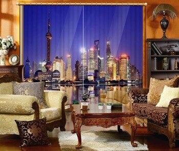 High quality custom 3d curtain fabric night view 3d curtains