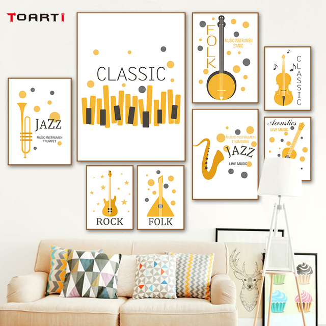 Jazz Rock Folk Classic Nordic Poster Orange Theme Musical Instruments Abstract Painting Bedroom Home Decor Wall Pictures Prints