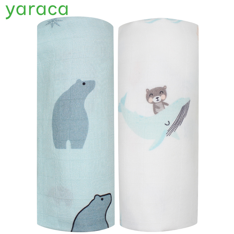 2pcs Set Baby Blanket Bamboo Cotton Muslin Baby Swaddles For Newborns Double Layer Gauze Bath Towel Baby Wraps Stroller Cover