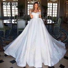 White Wedding Dress Zipper off The shoulder Zipper Satin Train Appliques Bridal Gown Wedding Dresses Vestidos de Noivas Custom цена