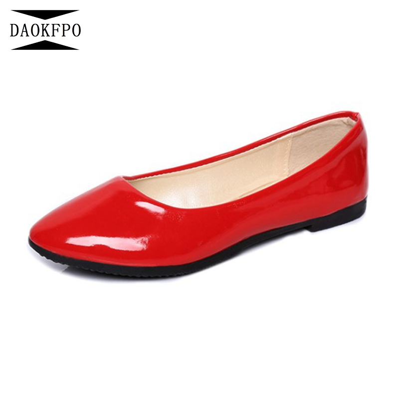 DAOKFPO 2018 Summer Casual Shoes Flats Pointed Toe Patent leather Women's Shoes Ballet Flats Shoes Ballerina Loafers NVD-15 2018 women shoes comfort pointed toe patent leather ballerina ballet flats portable travel flats summer slip on shallow shoes