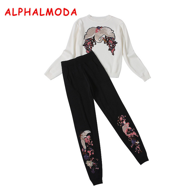 ALPHALMODA Tiger Outfit and Pants Suits Heavywork Embroidered Appliques Knitting Jumpers Stretch Cuff Long Trousers Knit Sets