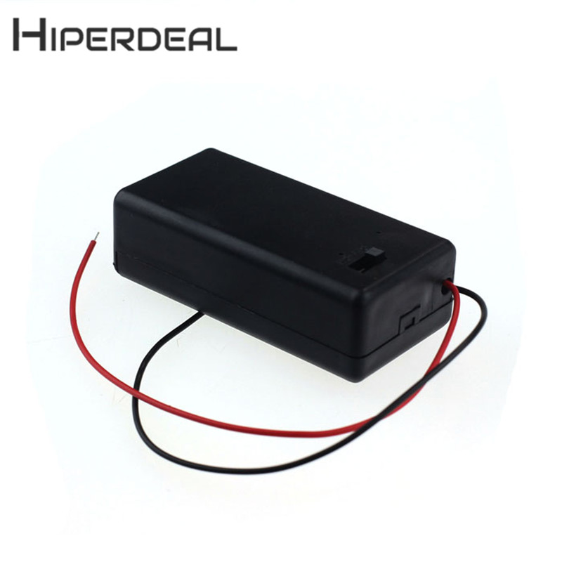 HIPERDEAL New 1pcs 9V Battery Storage Case Plastic Box Holder With Leads ON/OFF Switch 18Jan11 Drop Ship