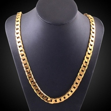 New Hip Hop Mens Necklace Curb Cuban Chain Gold Filled Jewelry Party Daily Wear