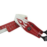 Vorson guitar straps bass straps personality leather red flame series guitar strap accessories