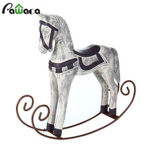 Nordic Style Wooden Rocking Horse Ornaments Vintage Study Store Home Decor Statuette Wood Crafts Figurines Animal Creative Gift(China)
