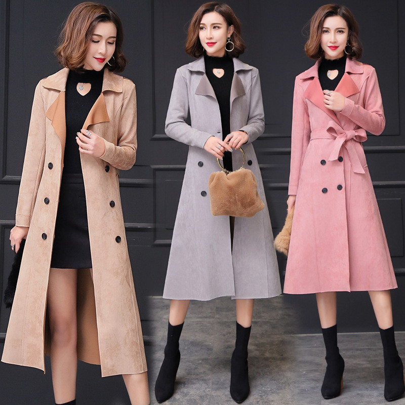 Windbreaker Female Suede Outerwear 2019 Spring and Autumn Women   Trench   Coat Double-breasted Long Casual Overcoat Large Size 4XL