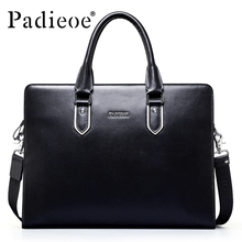 Padieoe Famous Brand Genuine Leather Business Briefcase Handbags Fashion Durable Cow Leater messenger bag male Shoulder bags