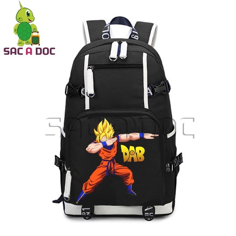 Anime Dragon Ball Z Canvas Backpack Funny Dabbing Super Saiyan Son Goku Printed School Backpack for Teenagers Laptop BagpackAnime Dragon Ball Z Canvas Backpack Funny Dabbing Super Saiyan Son Goku Printed School Backpack for Teenagers Laptop Bagpack