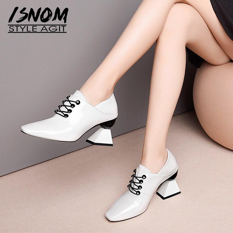 ISNOM Patent Leder Frauen Pumpen Platz Toe Kreuz Gebunden Schuhe Ungewöhnliche High Heels Seltsame Damen Mode Maultiere Schuhe Frau 2020-in Damenpumps aus Schuhe bei  Gruppe 1