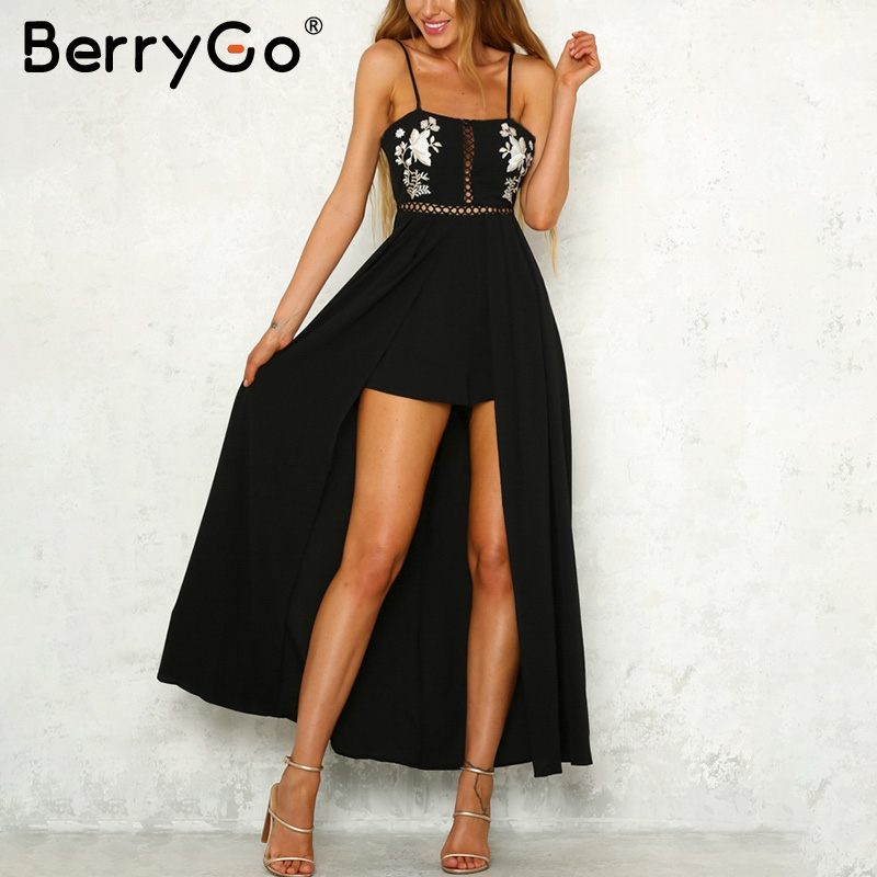 BerryGo Strap backless jumpsuits rompers Elegant embroidery hollow out summer romper 2018 Black beach women jumpsuit playsuit